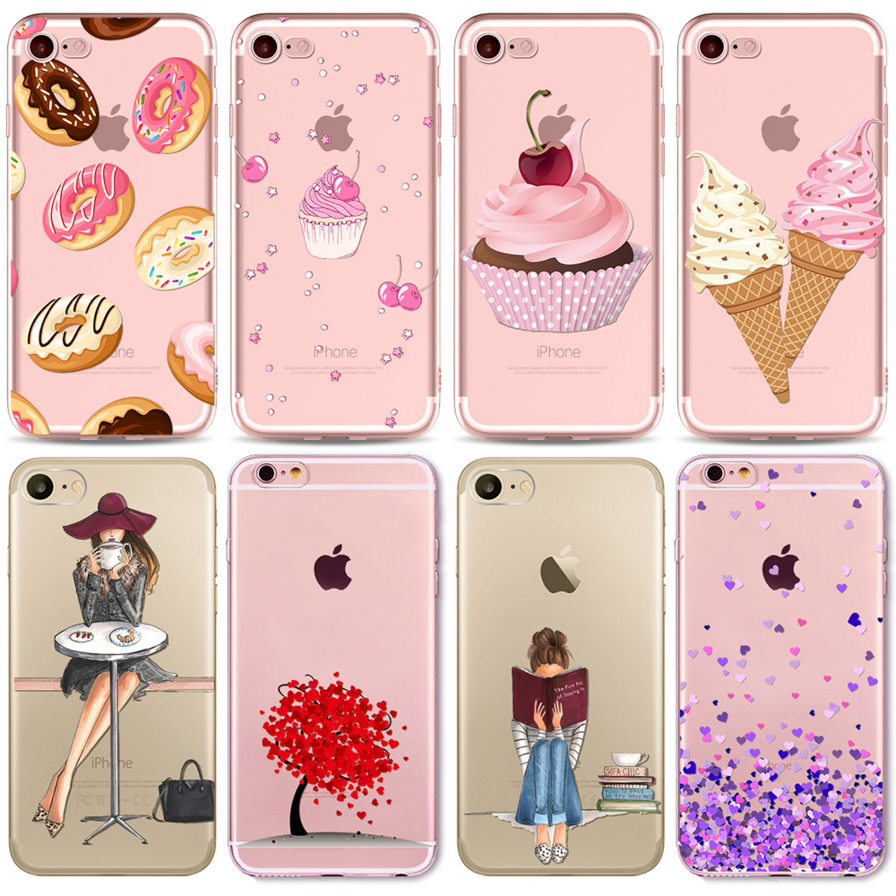 Galleria fotografica Colorful Donuts Macaron Phone Cases For iphone 7 8 7plus 6 6S 5 5S SE 8plus Girls Design Love Heart FlowerPhone Case Capa Shell