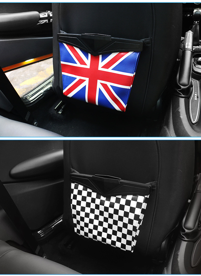 Leather Car Seat Storage Bag Trash Bag Basket for Mini Cooper R55 R56 R57 R58 R59 F54 F55 F56 F57 Countryman R60 F60 (5)