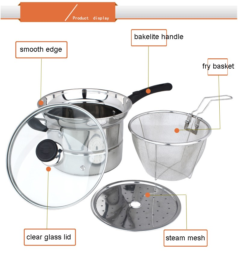 22cm Pasta Pot Stock Pot With Steam And Boil Basket Cooking Pot