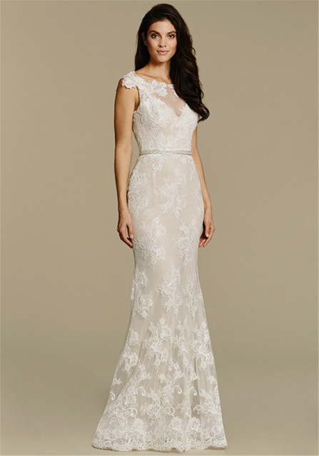 Bateau Illusion Neckline Ivory Lace Sheath Wedding Dress 2607 Deep V Back Beading At Natural Waist