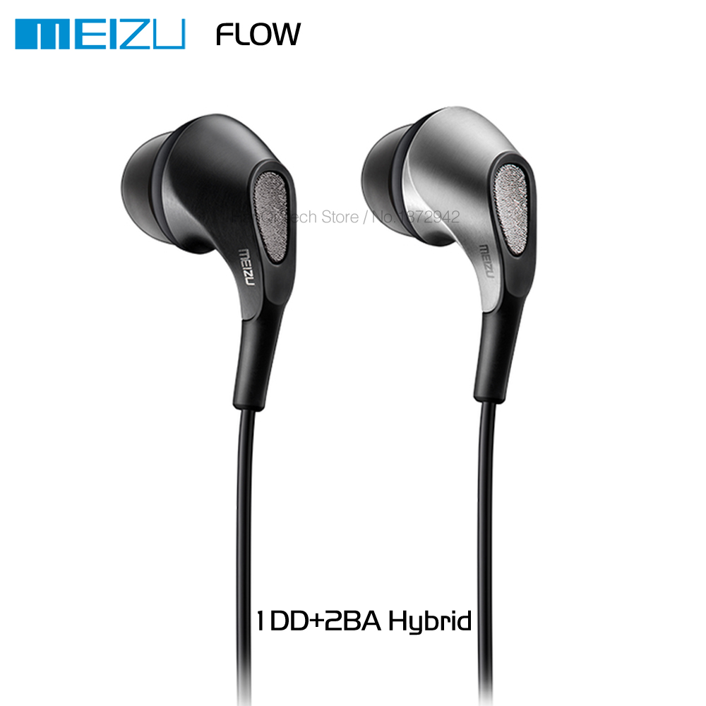 Original Meizu Flow Triple Driver In-Ear Earphone HIFI 1DD + 2BA Hybrid Earphones Earbuds with Microphone and Remote For Mobile genuine xiaomi hybrid earphone auricolariin ear hifi headset microphone pro multi unit circle iron headphones mobile earphones