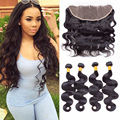 Mink Brazilian Hair With Lace Frontal Closure 4 Bundles Brazilian Body Wave With Frontal Closure Pre Plucked Frontal With Bundle