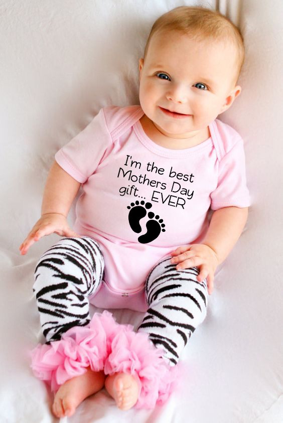 I am the best mothers day gift ever print New Style Short Sleeved Girls <font><b>Baby</b></font> Romper Cotton Newborn <font><b>Body</b></font> Suit <font><b>Baby</b></font> Pajama Boys image