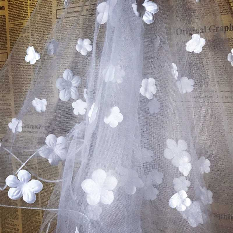 Frauen Braut Verheiratet Romantische Süße Blume Appliques Kurze Hochzeit Schleier Braut