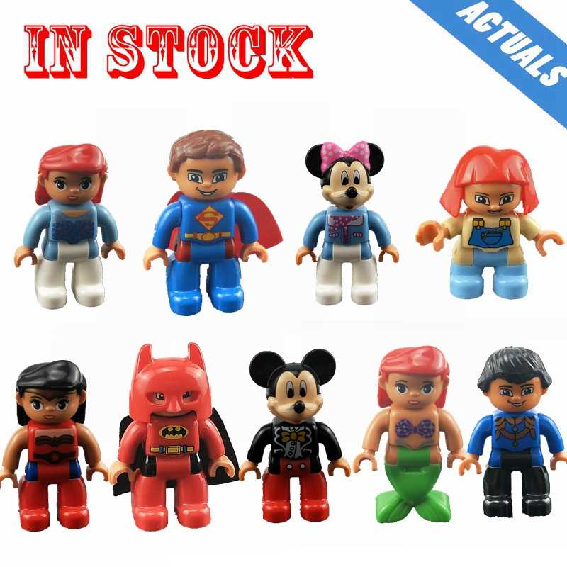 Legoing Duplo Mermaid Mermaid Mickey Mouse Minnie Superman Family Worker Action Figures Big Size Building Block Kid Toy Legoings