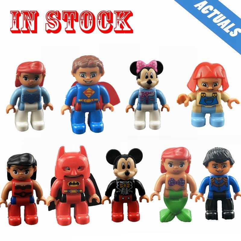 Legoing Duplo syrenka syrenka Mickey Mouse Minnie Superman rodzina pracownik figurki duży rozmiar klocki do budowy zabawka dla dzieci Legoings
