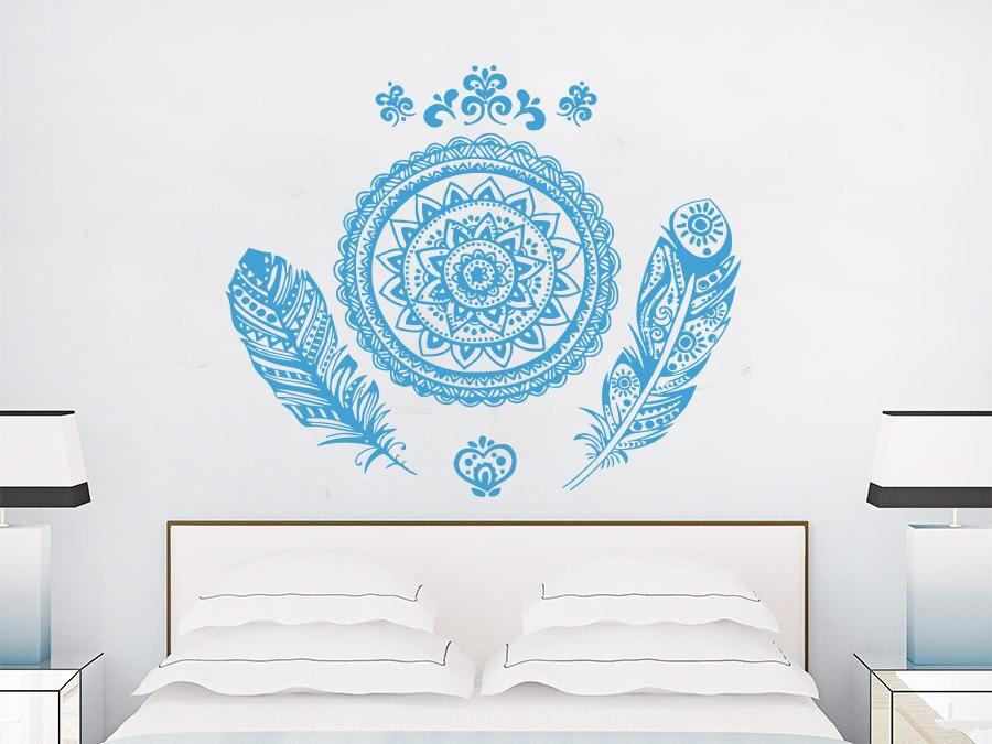 ᗖPlumas con Mandala flor enorme patrón único pared salón casa ...