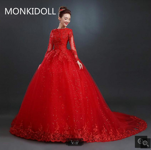 6487151cb50 New design ball gown red lace appliques wedding dress princess beading  sequins long sleeve wedding gowns muslim bride gowns
