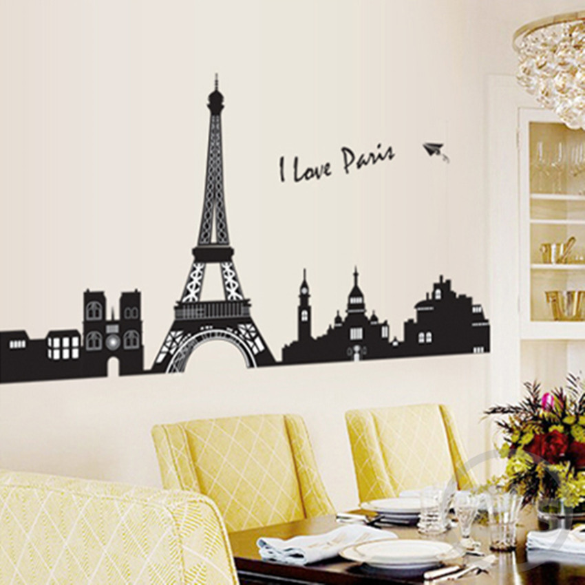 Aliexpress Com Buy I Love Paris Wall Sticker Eiffel Tower Home Decor Black Adhesive France Paris Decal Landscape Mural Large Removable Vinyl Ay7199 From