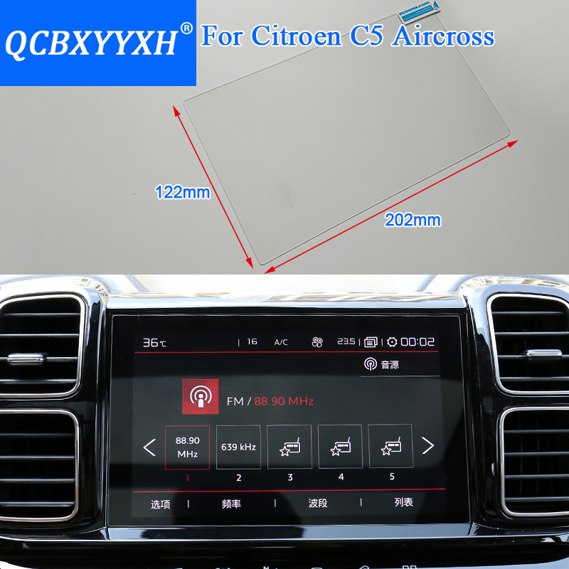 QCBXYYXH Car Styling GPS Navigation Screen Glass Protective Film For Citroen C5 Aircross Control Of LCD Screen Car Sticker