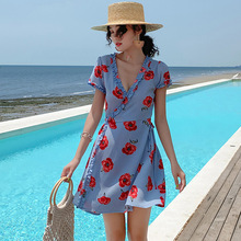 Beach Dress Women Vestidos Robe Femme  2019 Fashion Summer Elegant Floral Regular Above Knee