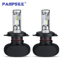 PAMPSEE S1 Auto Led H7 Headlight H13 9005 HB3 9006 HB4 Led H4 Car Bulb 6500K CSP Chip 50W 8000lm Fan-less H8 Fog Lamp All-in-one(China)