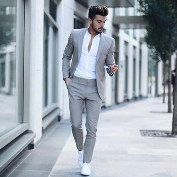 Casual Grey Men Suits Fashion Street Smart Business Male Blazer Summer Beach Wedding Suits For Men Prom Party Best Man Suit 2PCS