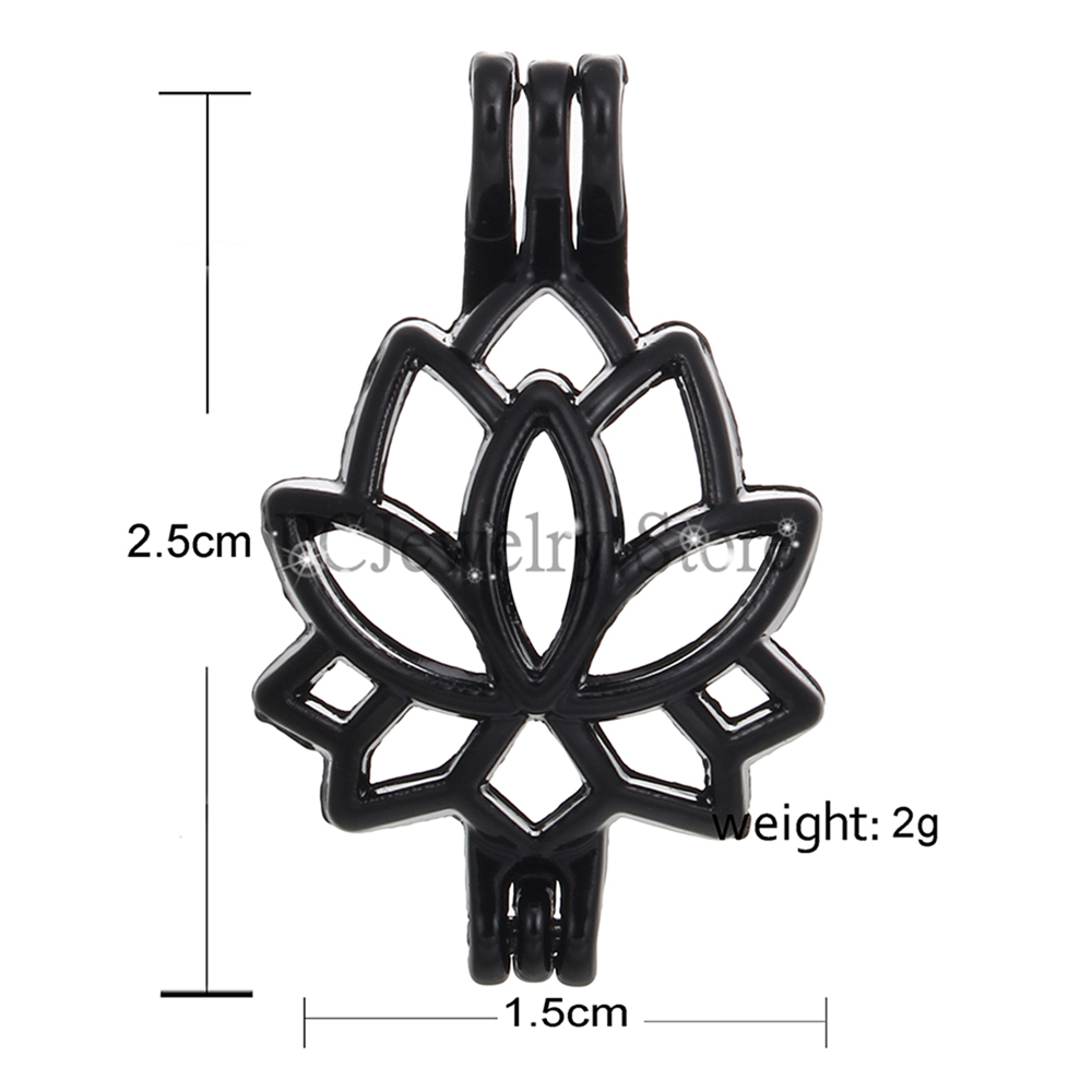 10pcs Black Lotus Flower Pearl Cage Beads Cage Essential Oil