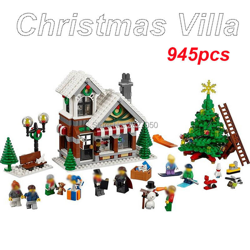My World Winter Christmas Villa 945pcs Building Blocks toy Xmas Hut House Decoration Block toys for boys and girls new year gift plastic standing human skeleton life size for horror hunted house halloween decoration