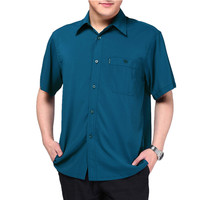 2019 Plus Size Casual Men Shirt Short Sleeve Shirt Male Solid Color Summer Casual Shirt Men