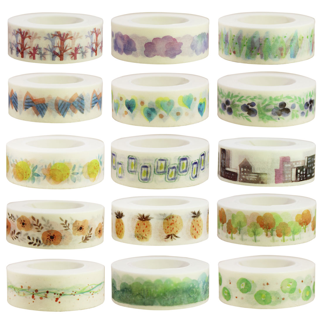 Cute Kawaii Fruits Flowers Japanese Masking Washi Tape Decorative Adhesive Tape Decora DIY Diary Scrapbooking Sticker Label
