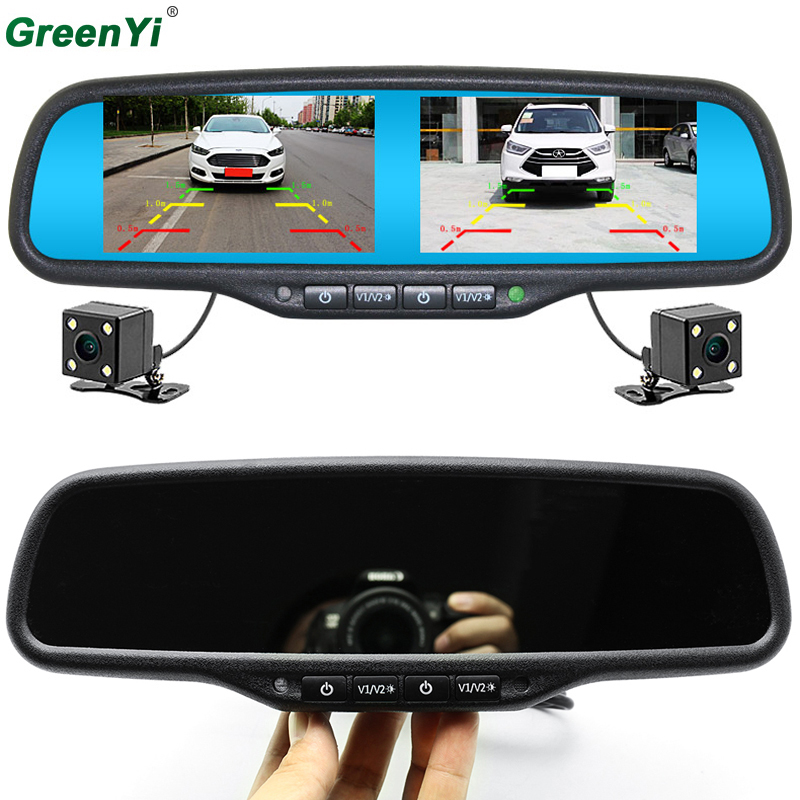 GreenYi Car Rear View Backup Parking Camera Car Monitor Night Vision 800*480 Dual Screen Car Interior Mirror Monitor Video Input candice guo nici plush toy stuffed doll cute cartoon animal little fairy ayumi be you girl theme bedtime story birthday gift 1pc