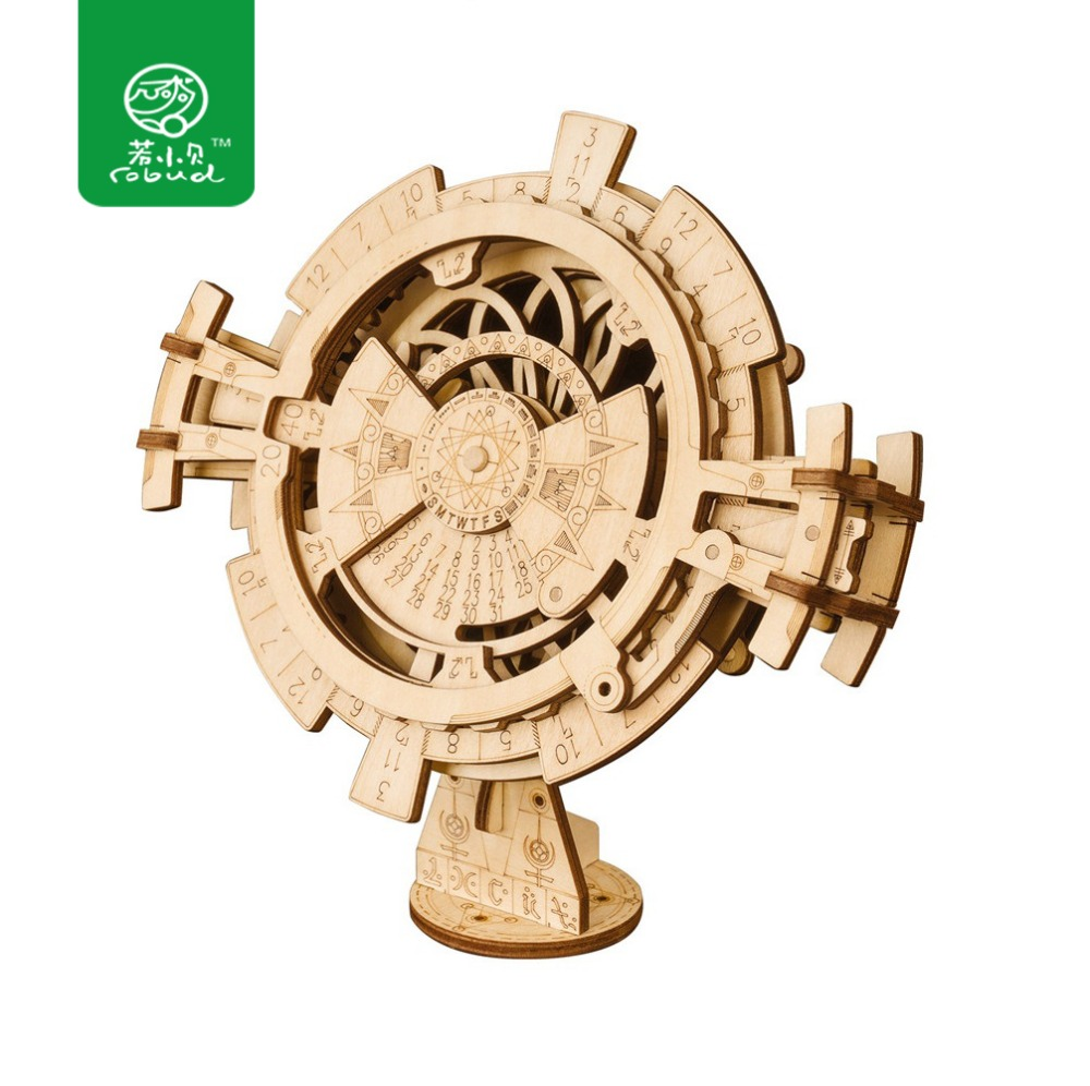 Robud New Arrival Creative DIY 3D Perpetual Calendar Wooden Puzzle Game Assembly Toy Gift for Children Teens Adult LK201
