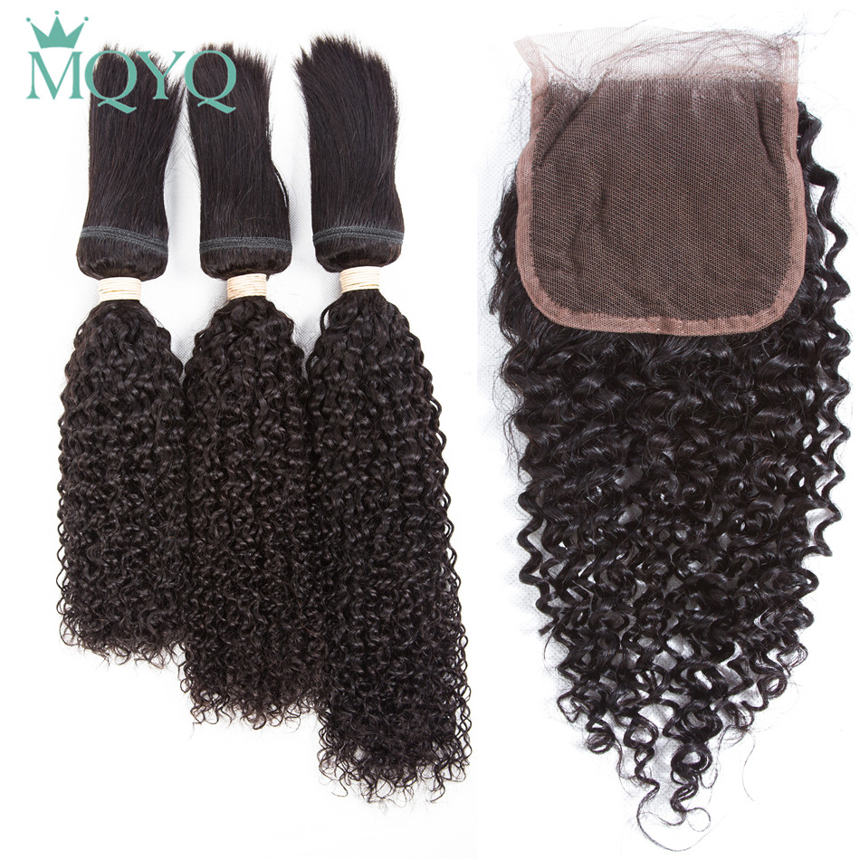 Afro Kinky Curly Human Hair Bundles with Lace Closure Braid In Hair Weave 3 Bundles with Closure Brazilian Curly Hair Extensions