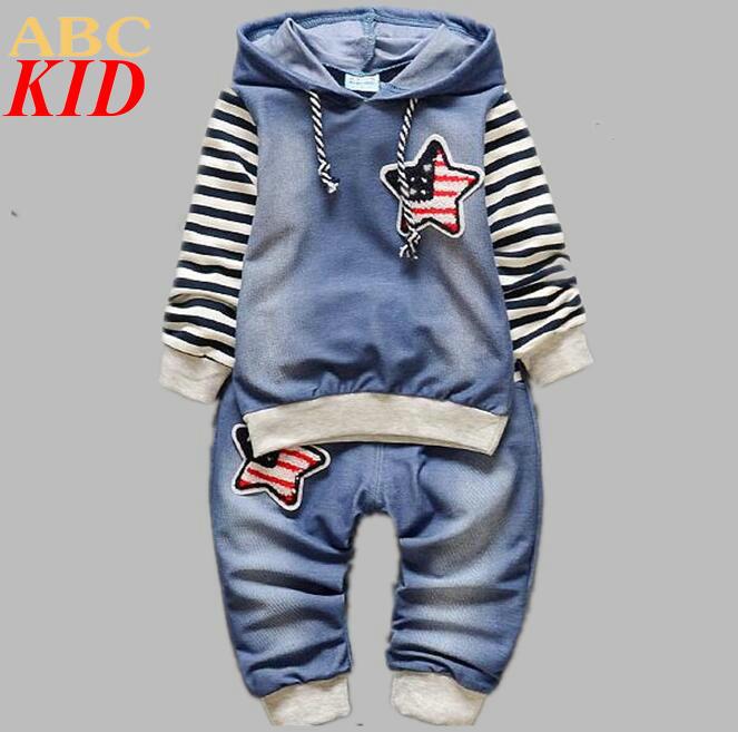New Design Baby Boys font b Clothing b font Sets Denim Suits 2PCS font b Sport