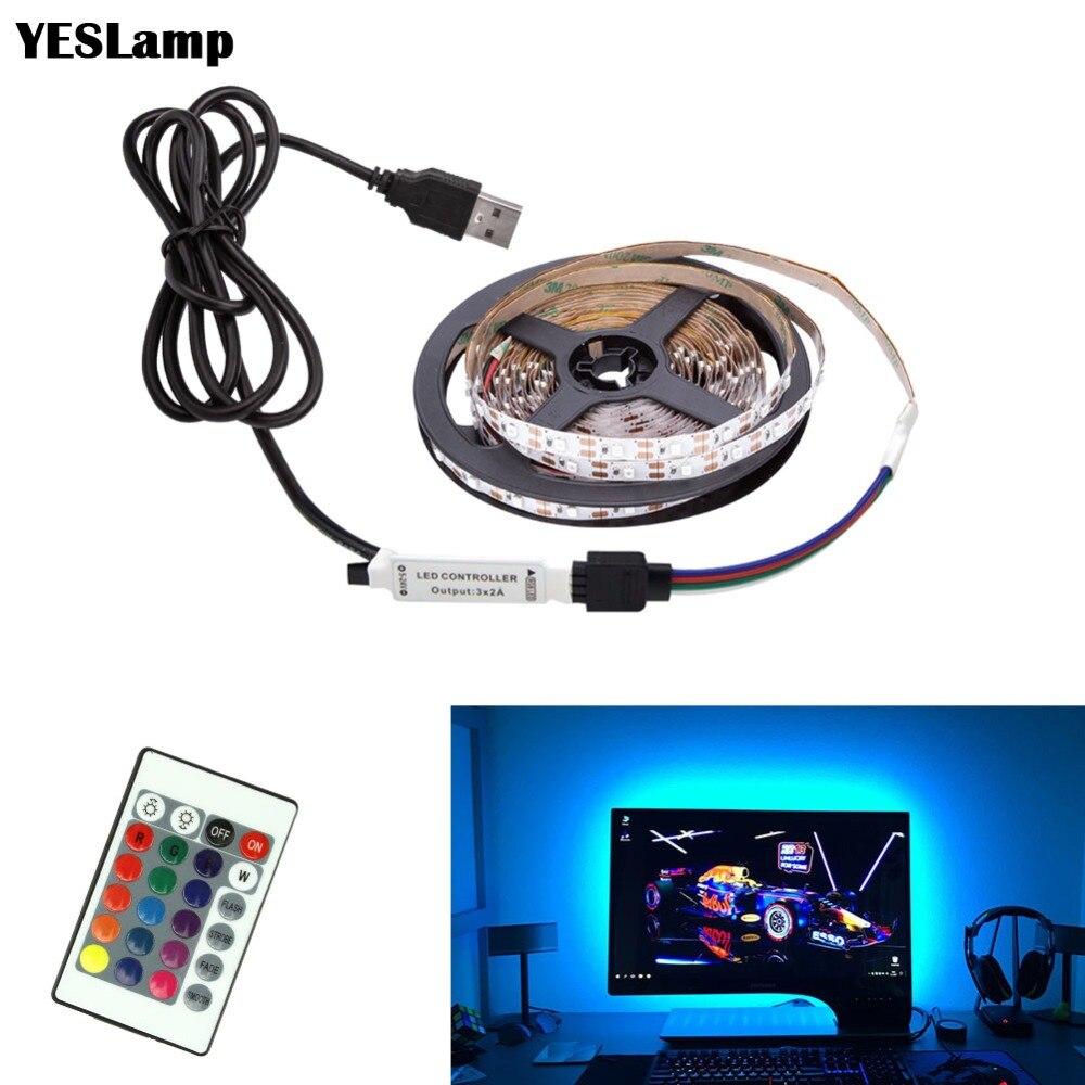 LED Strip DC5V 3Key USB Cable Power Flexible Light Lamp 50CM 1M 2M 3M 4M 5M SMD 2835 Desk Screen Tape TV Background Lighting