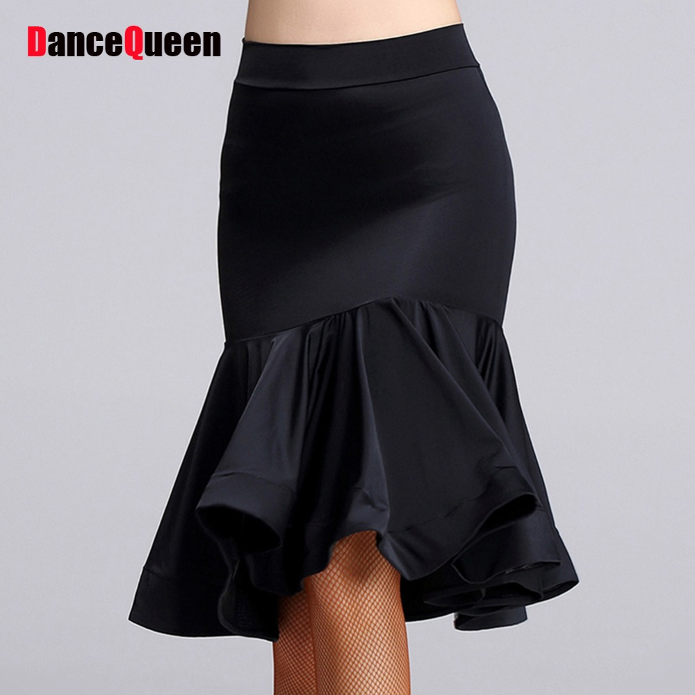 2017 Hot Latin Dance Skirt For Women No Include Tops Black Color Ruched Skirt Roupa Chacha