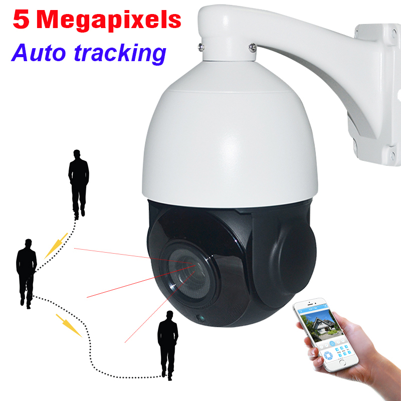 Security H.265 Auto Tracking 5MP PTZ Camera High Speed 5 Megapixels Network IP Auto Tracker 30X ZOOM IP66 P2P Mobile View Audio цены