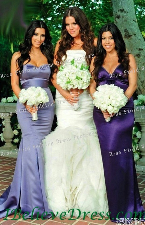 Kim Kardashian Purple Mermaid Bridesmaid Dress at Khloe Kardashian ...