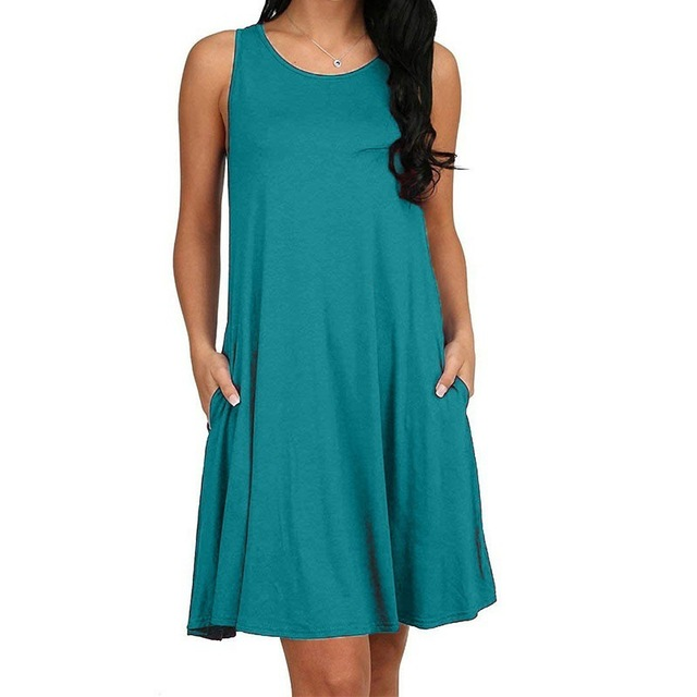 Women Casual Summer Dress Plus Size O-neck Tank Top Loose Clothing Side Pocket Fashion Sexy Ladies Solid Sleeveless Dresses 5XL 3