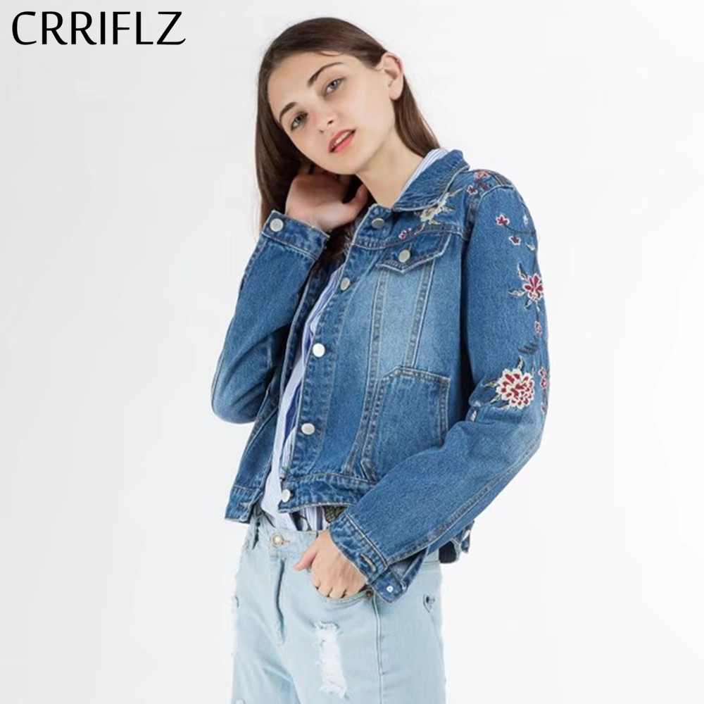 CRRIFLZ Fashionable embroidery denim   jacket   coat Women spring autumn casual jeans outerwear coat Female winter   basic     jackets