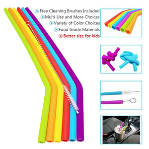Image 5 - 6Pcs Reusable Silicone Drinking Straws Set, Long Flexible Straws with Cleaning Brushes for 20 oz Tumbler Bar Party Straws