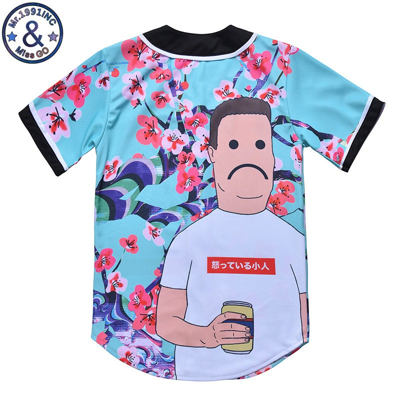 1b5f2699569 Aliexpress.com   Buy New Mens Button Down T shirt Fashion Unisex Arc Bottom  3D Character Print Baseball Team Jersey Shirt from Reliable T-Shirts  suppliers ...