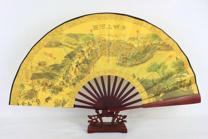"""1"""" украшенный Шелковый складной Ручной Веер человек большой бамбуковый китайский Печатный веер из ткани традиционное ремесло свадебные сувениры веер - Цвет: Ching Ming River map"""