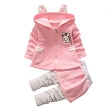 hot deal buy 2pcs children's sets kids girls clothing lovely cartoon rabbit print coat pant set children kids outfits sets
