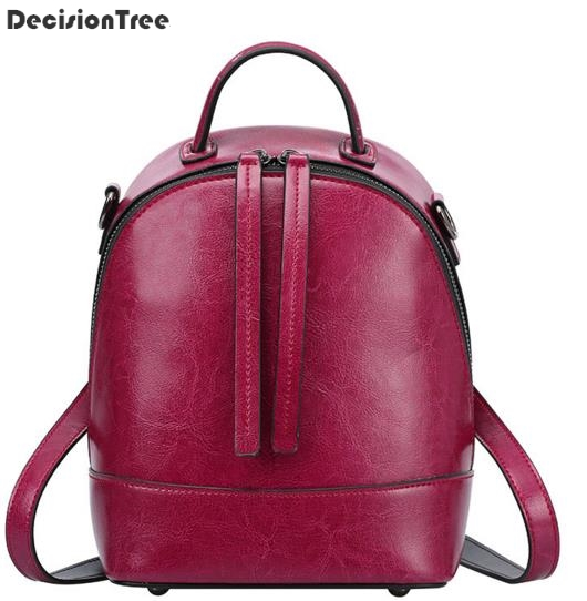Women Backpack 100% Genuine Leather Bag Vintage Belt Fashion Backpack For Student Girls Preppy Style School Backpack Travel Bag