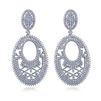 Original Design Gorgeous Chandelier Crystal Bridal Big Drop Earrings AAA CZ Wedding Jewelry White Gold Plated