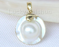 @@@@@ AAA dolphin 24mm white South Sea Mabe Pearls pendant silver filled gold j10103 6.09