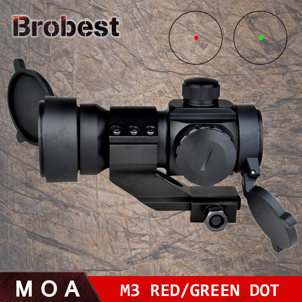 Tactical 1X32 Scope 5 MOA Red Green Dot laser Telescopic Illuminated M3 Rifle Scope Reflex Dot Sight 20mm Rail Mount AO3011