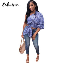 Echoine Summer Stripes Skew Irregular Collar One Shoulder Three Quarter Sleeve Tie Up Casual Bow Blouse Shirts Plus Size XXL Top(China)