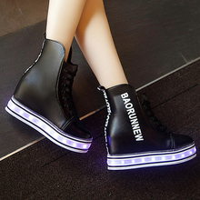 GRITION LED Shoes for Girls Women Women High Top Shoes with Lights Dance Shoes Shining LED USB Chargeable Zapatos Mujer