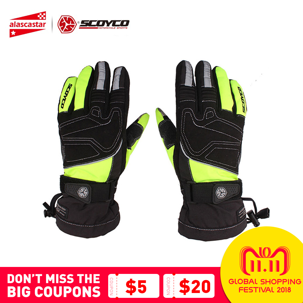 SCOYCO Motorcycle Gloves Reflective Riding Winter Waterproof Windproof Thermal Gloves Ski Snowboard Touch Screen Guantes Luva цена