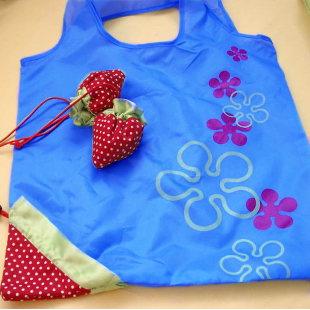 8 Colors Reusable Shopping Bag Cute Strawberry Foldable Shopping Bag Portable Tote Bag Eco Grocery Bag For Women Large Capacity