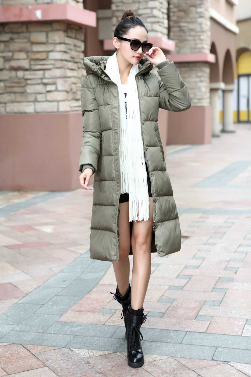 New Arrival Fashion Korean Winter Thickening Camouflage Long Sleeves Zipper And Covered Button Down Jacket Women Coat H4329