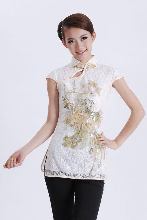 Envío Libre Blanco Chino Camisa Mujer Blusa de Encaje Bordado Tops Phenix Patrón