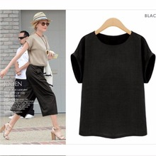 Prapra Women Cotton Linen Shirt Loose Short Sleeves Tops Shirts Summer Linen shirts female Plus Size Tee Shirt L-5XL