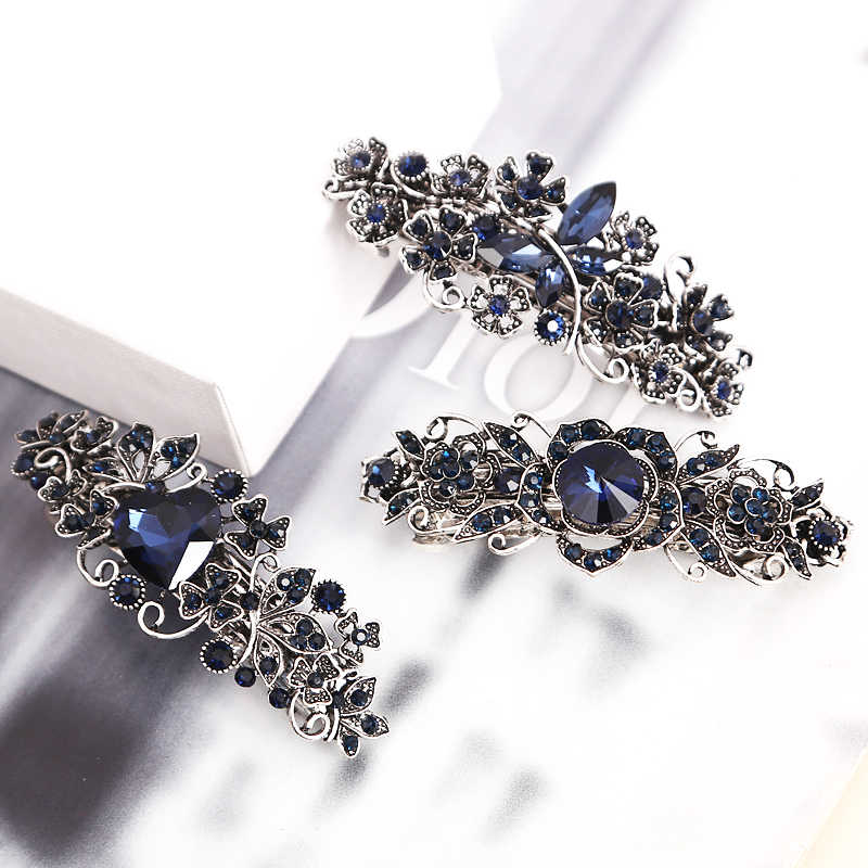 1Pcs Retro Metal Hair Clip Barrettes Crystal Pearl Hairpin Barrette Color Feather Hair Claws