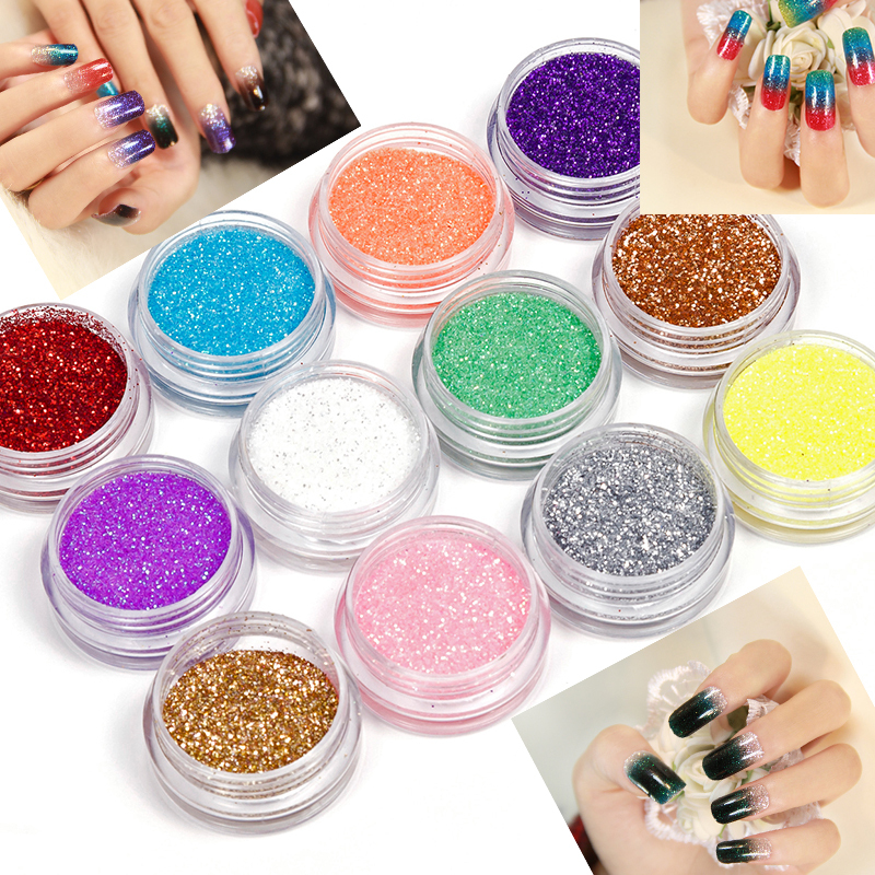 Alta calidad Fashion12 Color de la mezcla UV Gel Nail Glitter Powder Dust Set Nail Art Tip decoración DIY Holi Powder belleza decoración