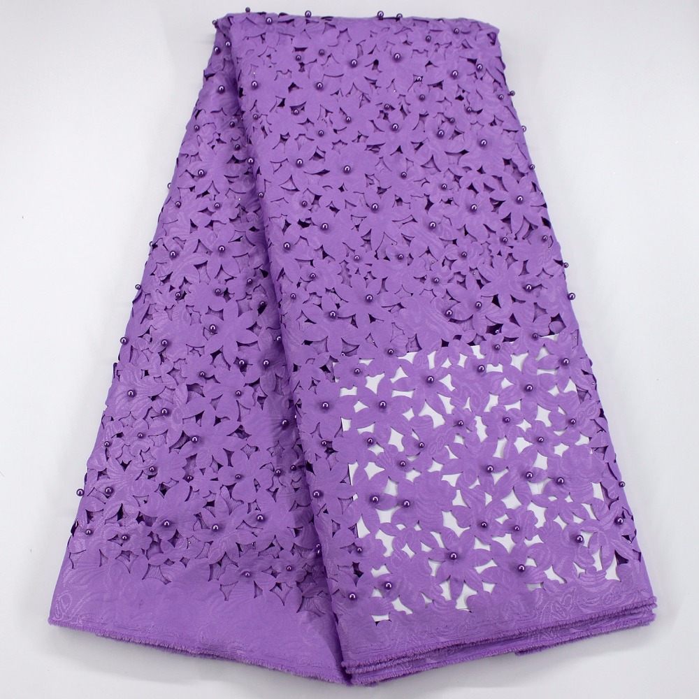 Latest beaded african lace fabric available in purple green yellow pink nigerian lace fabrics high royal