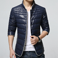 2016 men's boutique quality slim fit warm white duck down jacket/Male standing collar fashion pure color leather jacket